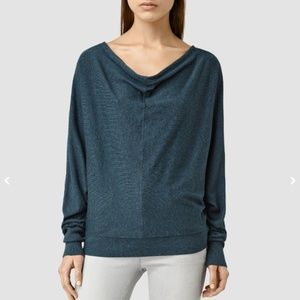 Allsaints Elgar Cowl Neck Sweater - size 6 - teal